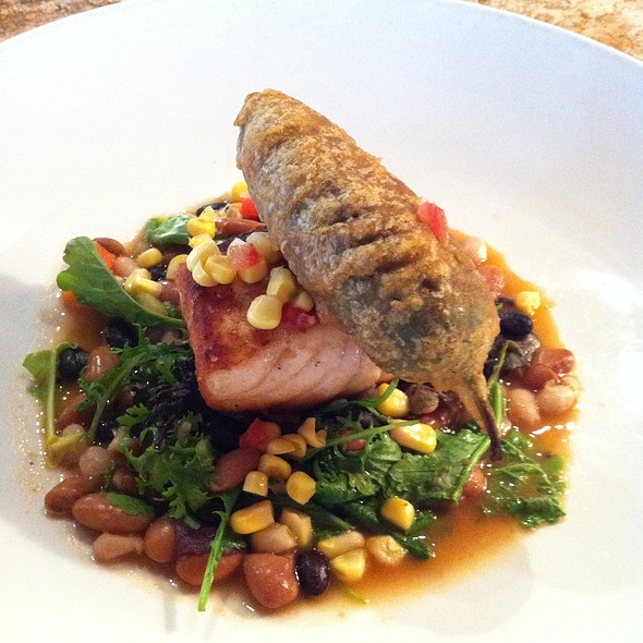 Salmon With Corn Salsa, Borracho Beans, And Goat Cheese Stuffed Jalapeno - Stephan Pyles, Dallas, TX