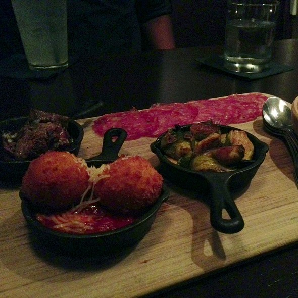 Crab Deviled Eggs, Capricolo, Brussell Sprouts And Fritters - Meriwether's Restaurant & Skyline Farm, Portland, OR