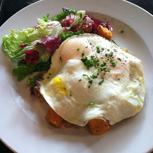 Duck Confit And Sweet Potato Hash Topped With Sunny Side Up Eggs - Watty & Meg, Brooklyn, NY