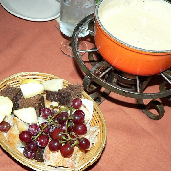 Bread, Apples, And Grapes For Cheese Fondue - Geja's Café, Chicago, IL