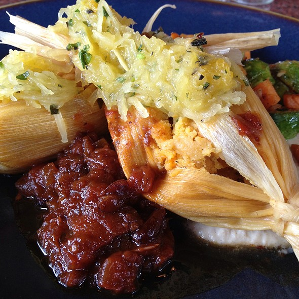 Squash Tamales With Brussel Sprouts & Sweet Potato Hash - Zolo Grill, Boulder, CO