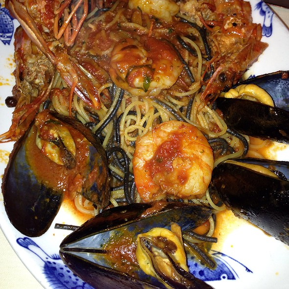 Langostinos With Black And White Pasta And Mussels And Shrimps - Caffe Abbracci, Coral Gables, FL