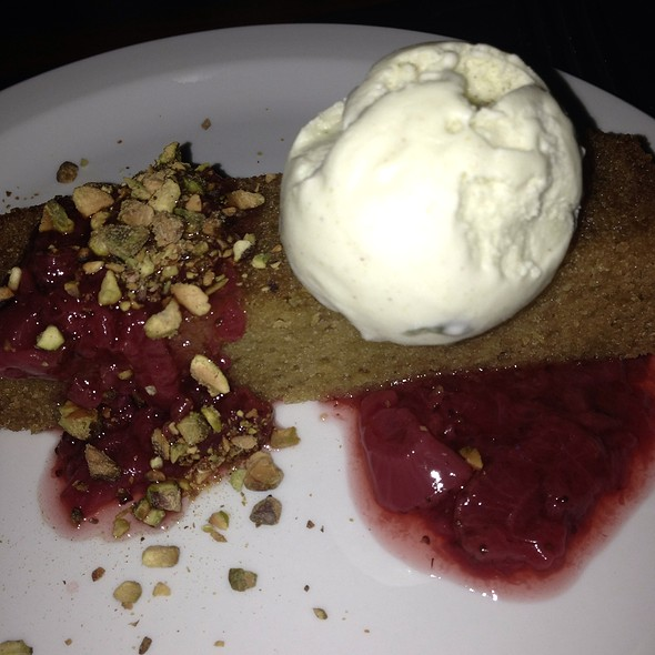 Olive Oil Cake With Strawberry Compote And Pistachio Ice Cream - Post & Beam, Los Angeles, CA