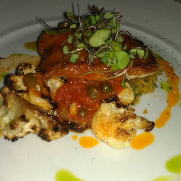 Roasted Striped Bass, Spaghetti Squash, Roasted Cauliflower And warm Tomato Caper Vinaigrette  - Triomphe, New York, NY