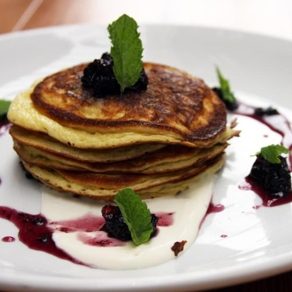 Blueberry Sour Cream Pancakes - Ten Ten, Baltimore, MD