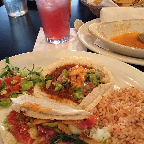 Choriso Tacos With Rice And Raspberry Italian Soda (Beverage W/Alcohol) - La Margarita Restaurant & Bar, Indianapolis, IN