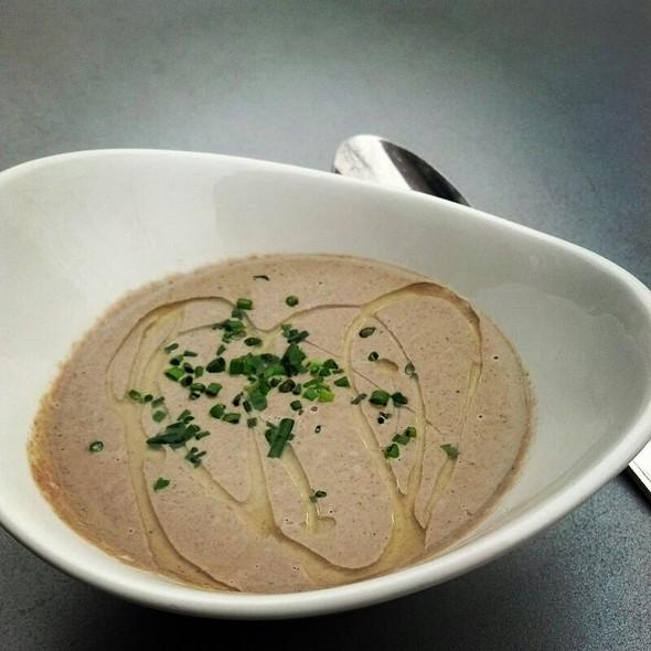 Portabella Mushroom Soup w/ Olive Oil & Chives  - Hickory Lane American Bistro, Philadelphia, PA
