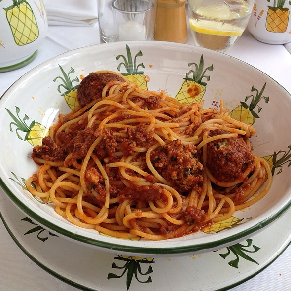 Spaghetti With Meatballs And Tomato Sauce - Ivy at the Shore, Santa Monica, CA