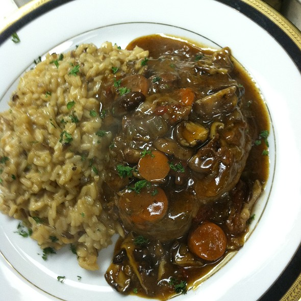Veal Shank Italian Osso Buco with Wild Mushroom Risotto - Cafe Mezzanotte, Wilmington, DE