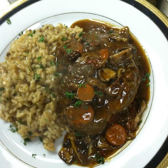 Veal Shank Italian Osso Buco with Wild Mushroom Risotto - Cafe Mezzanotte, Wilmington, DE