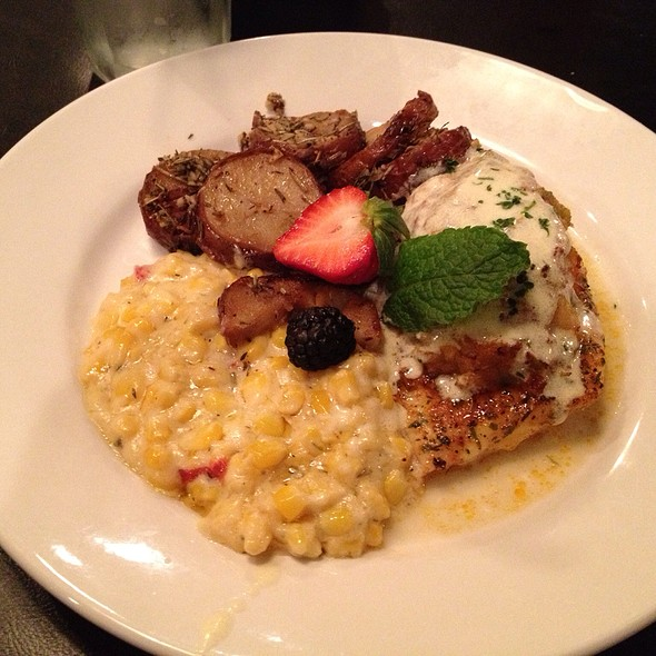 Stuffed Redfish With Creamed Corn And Rosemary Potatoes - The Little Village - Airline, Baton Rouge, LA