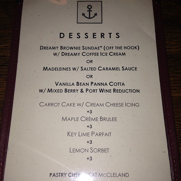 Dessert Menu For Restaurant Week - The Bell & Anchor, Sag Harbor, NY