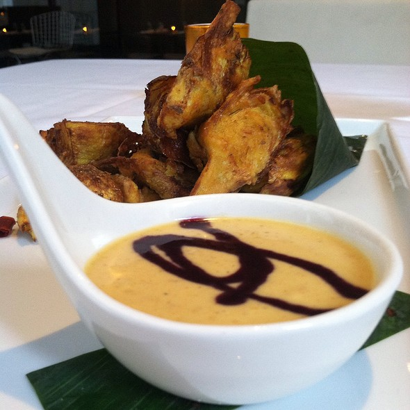 Artichoke Pakora With Blueberry Coconut Dipping Sauce - at Vermilion, New York, NY