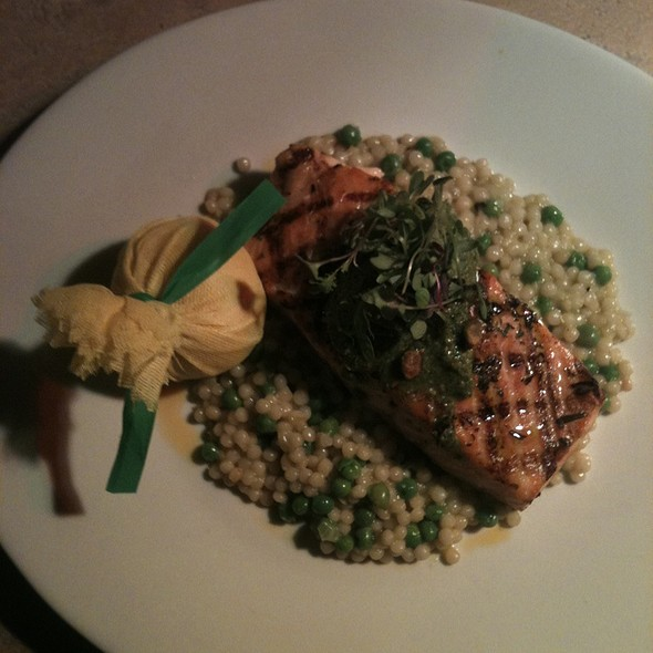 Salmon With Pistachio Pesto - entre nous bistro, North Palm Beach, FL