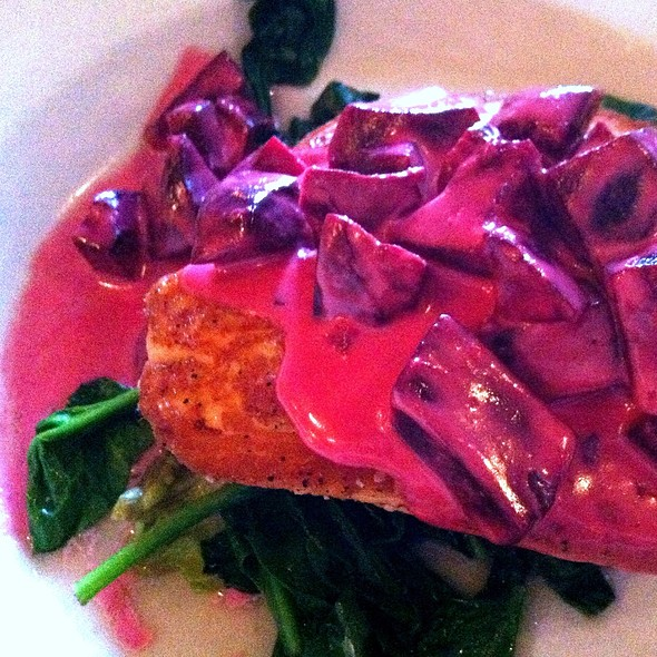 Grilled Salmon With Dijon Beets And Wilted Spinach - La Villa Bistro and Pizzeria, Shelburne, VT