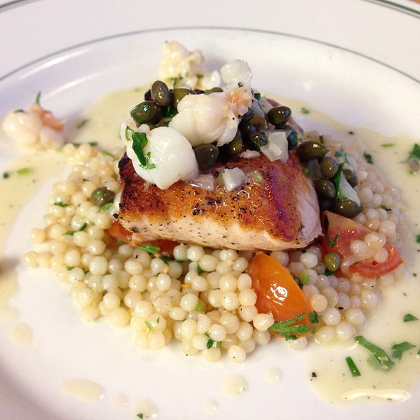 Pan-Seared Salmon With Tomatoes, Cous Cous, Lemon Lobster - The Tavern, Tulsa, OK