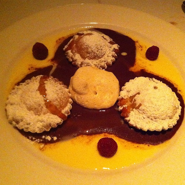 Apricot Ravioli With Texas Goat Cheese With Orange Reduction And Chocolate Sauce - Cadot Restaurant, Dallas, TX