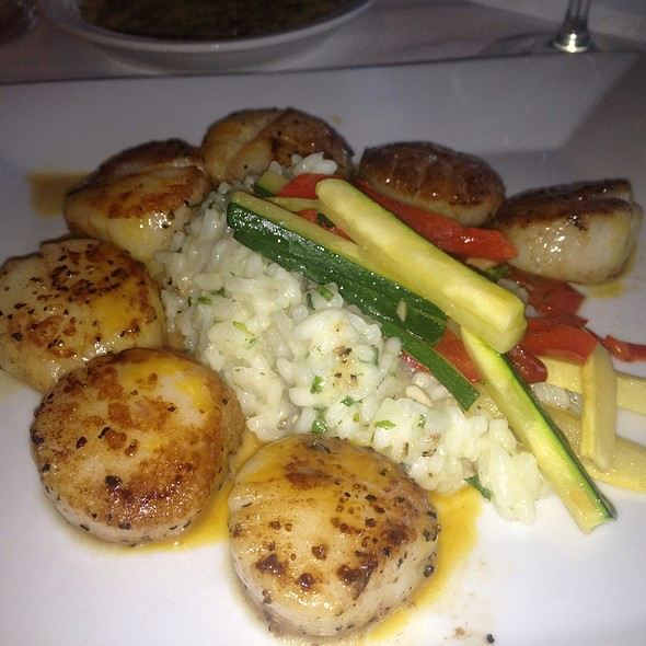 Pan Seared Scallops With Risotto Carbonara With Parmesan Essence - The Brick Hotel & Restaurant, Newtown, PA