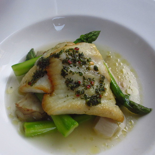 Turbot fish with chimichurri, artichoke, garlic and asparagus - Tortoise Supper Club, Chicago, IL