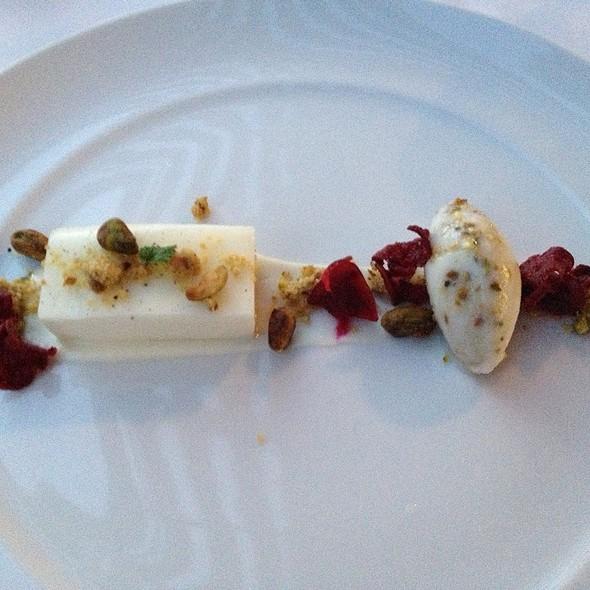 Creme Fraiche Panna Cotta With Pistachio Sorbet - Restaurant Gwendolyn, San Antonio, TX
