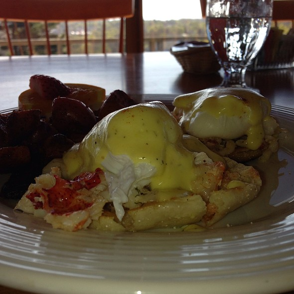 Lobster Eggs Benedict - Looking Glass Restaurant at the Bluenose Inn, Bar Harbor, ME
