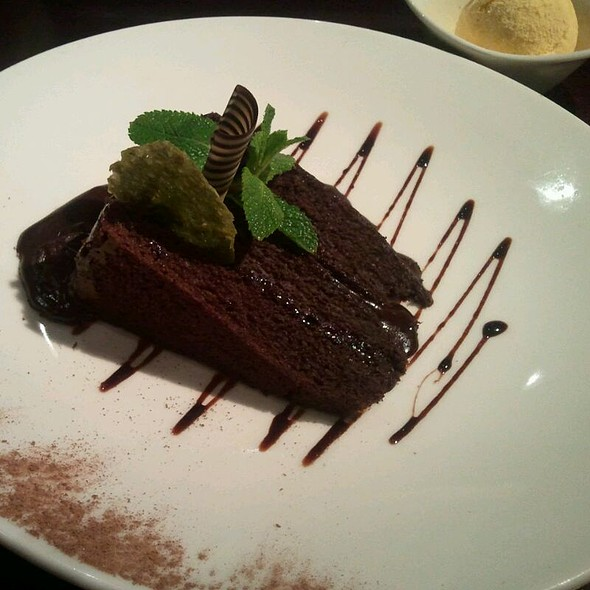 Chocolate Fudge Cake With Vanilla Ice Cream - Asha's Restaurant, Birmingham, West Midlands