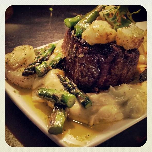 Surf + Turf | chimichurri beef tenderloin + grilled shrimp + eggplant puree + asparagus + buttermilk mash - Kelvin, San Diego, CA