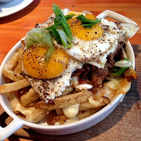Yarrow Meadow Duck Poutine - Edible Canada at the Market, Vancouver, BC