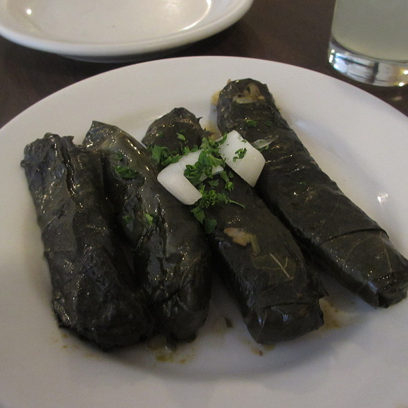 Grape leaves Lebanese appetizer with rice, onions, tomatoes - Old Jerusalem, Chicago, IL