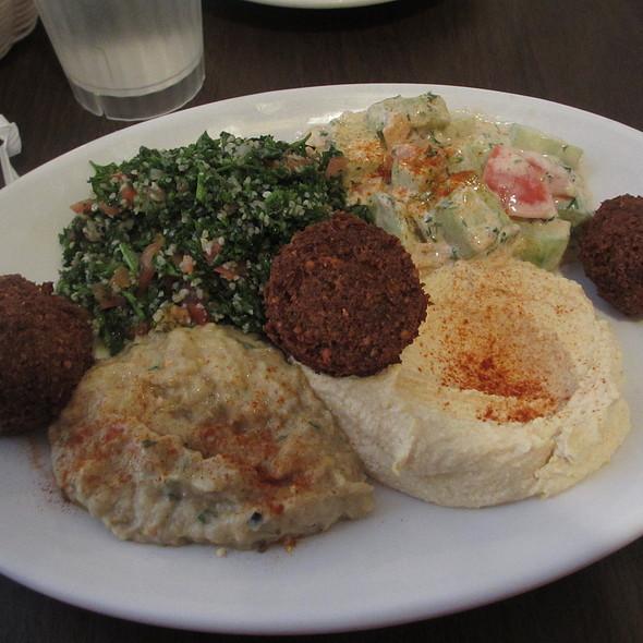Vegetarian combination platter – hummus, baba ganou, tebouleh salad, jerusalem salad, falael - Old Jerusalem, Chicago, IL