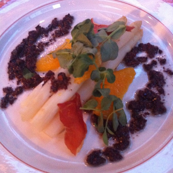 White Asparagus Salad W/ Orange, Coppa And Olive - The Restaurants at Walnut Hill College, Philadelphia, PA
