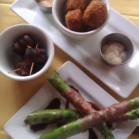 Tapas: Malaga Croquettes, Prosciutto-wrapped Asparagus, & Bacon-wrapped Dates - Cafe Malaga, McKinney, TX