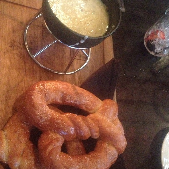 Beer and cheese fondue with homemade pretzel bread.... - TAPS Fish House & Brewery - Dos Lagos, Corona, CA