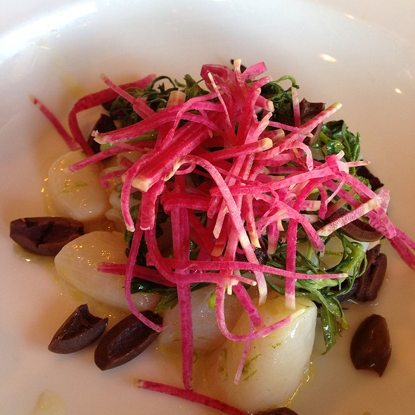 Scallop Crudo With Meyer Lemon, Watermelon Radish & Pomegranate - Bellanico Restaurant and Wine Bar, Oakland, CA