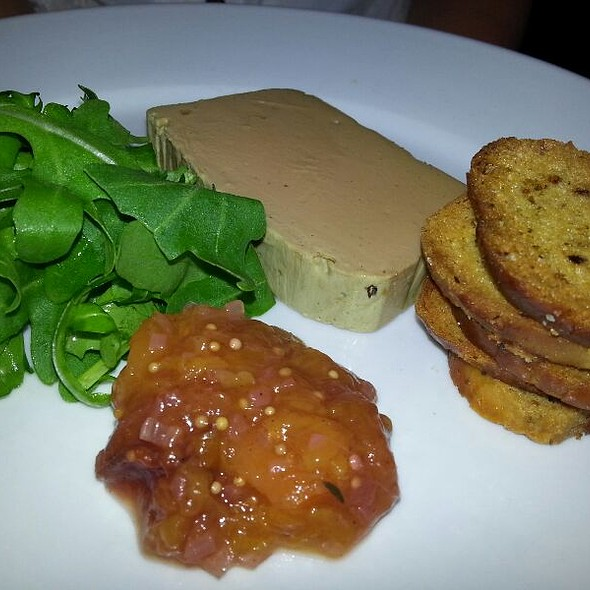 Chicken liver and fois gras parfait, peach chutney and herb croutons. - Number 16 Restaurant, Glasgow