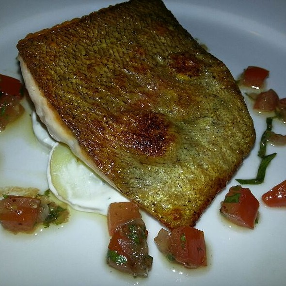 Pan fried fillet of rainbow trout with lemon, crab and potato creme fraiche, sauce vierge. - Number 16 Restaurant, Glasgow