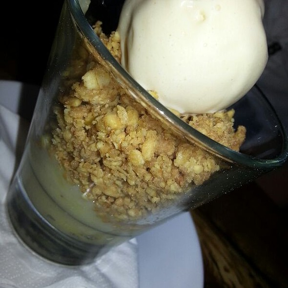 Banana and peanut crumble with gingerbread ice cream. - Number 16 Restaurant, Glasgow