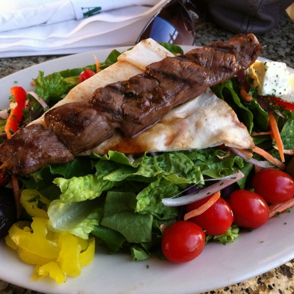Greek Salad with Lamb Kabob - Cobalt Grille, Virginia Beach, VA