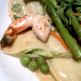shrimps and sweet pea ravioli - close up - Zodiac at Neiman Marcus – Downtown Dallas, Dallas, TX