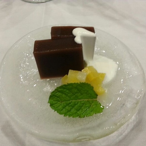 """Black sugar """"Yokan"""" with shiokoji cream topping - Miyako Japanese Restaurant, Honolulu, HI"""
