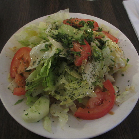 House Salad with cucumbers, tomatoes and onions - Old Jerusalem, Chicago, IL