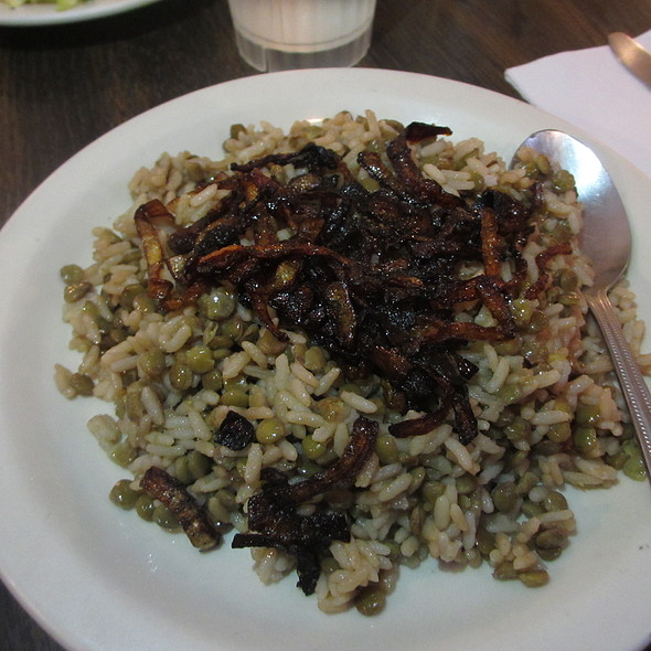 Moudardara - Middle Eastern lentils, steamed rice and roasted onions - Old Jerusalem, Chicago, IL