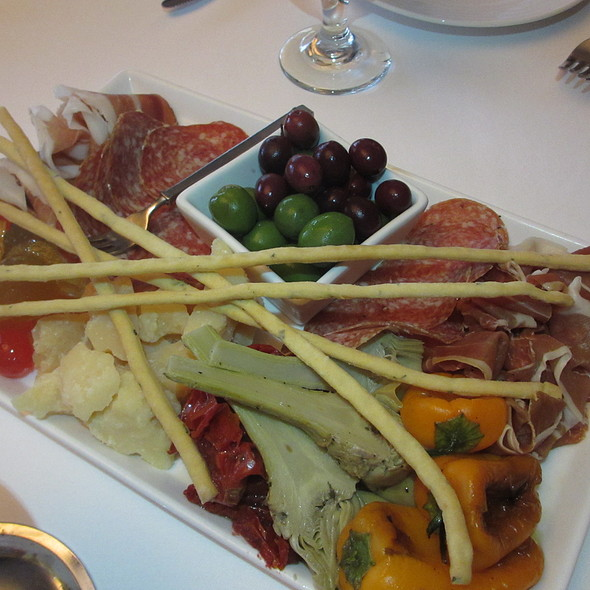 Italian Antipasti platter - assorted appetizers: salami, prosciutto, meats, vegetables, artichokes, peppers, tomatoes, fruits, olives, cheese - Ristoranté Brissago, Lake Geneva, WI