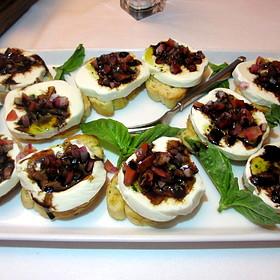 Italian bruschetta (assorted appetizers) - bufala di mozzarella, eggplant caponata, crostini toast - Ristoranté Brissago, Lake Geneva, WI