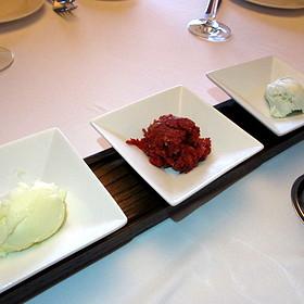 Bread service spreads - butter, tomatoes tapenade and bleu cheese - Ristoranté Brissago, Lake Geneva, WI