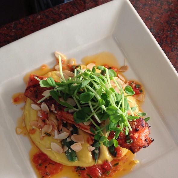 Wild King Salmon, Summer Squash Puree, Toasted Almonds, Tomato Truffle Vinaigrette - Depot Hotel Restaurant, Sonoma, CA