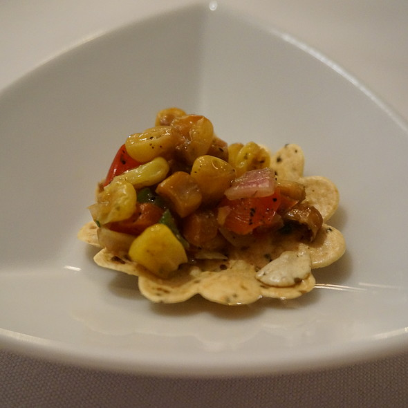 Indian food - Corn salad chip amuse bouche - Tulsi, New York, NY