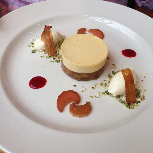 Rhubarb And Custard With Pistachio Brittle - The Laughing Gravy, London