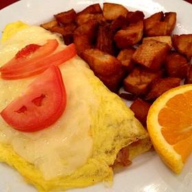 Honey Kissed Ham And Cheese Omelet - Chez Zee, Austin, TX