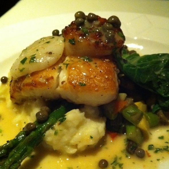 Alaskan Halibut and Scallops in a Lemon Caper Sauce - Hexagone, San Diego, CA